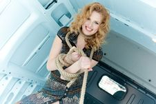 Free Pretty Young Woman In Ropes In Cargo Van Stock Image - 19475201