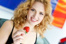 Free Young Woman With Strawberry Near New Car Stock Images - 19475244