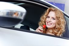 Free Young Woman With Strawberry In New Car Stock Photography - 19475262
