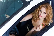 Free Young Woman With Strawberry In Car Stock Image - 19475271
