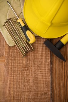 Free Copyspace Background Of Board With Tools Stock Photo - 19475560