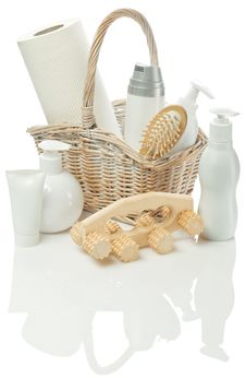 Cosmetical Set In Bast Basket Royalty Free Stock Images