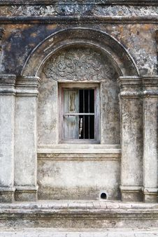 Arch Window Ancient Wall Stock Photo