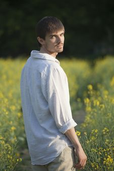 Portrait Of Man In Field Royalty Free Stock Image