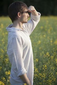 Free Man In Field Looking Royalty Free Stock Image - 19476366