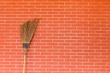 Free Broom On Brick Wall Stock Photos - 19476753