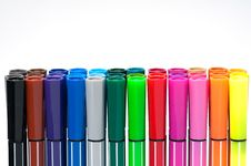 Free Colored Marker Pens Isolate On White Background Stock Photos - 19477263