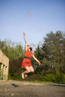 Free Happy Young Woman Jumping Stock Photo - 19477690