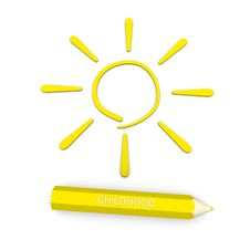 In Pencil Sign Of The Sun - A Symbol Of Childhood