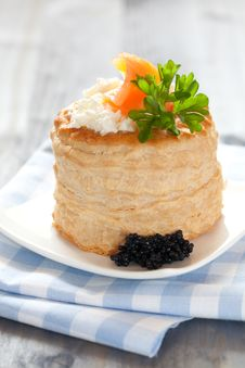 Vol Au Vent With Caviar Royalty Free Stock Images