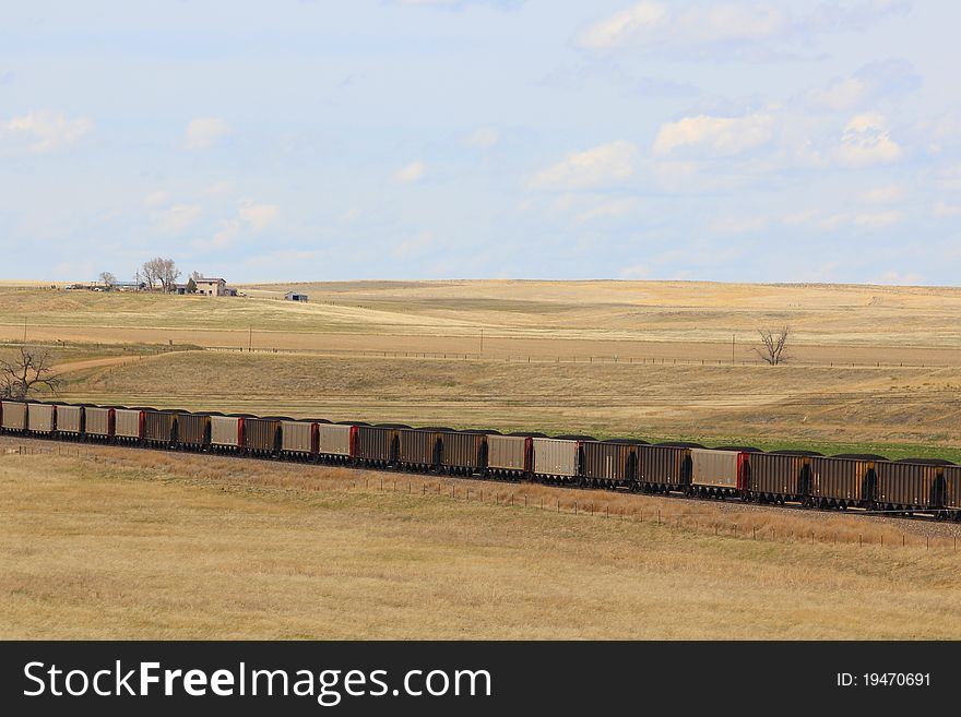 Coal train on a prairie