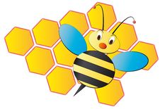 Free Bee Cartoon With Beehive Royalty Free Stock Images - 19481159