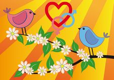Free Pink And Blue Bird With Love Royalty Free Stock Images - 19481189