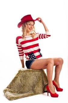 Free Sexy American-dressed Girl Royalty Free Stock Photography - 19481487
