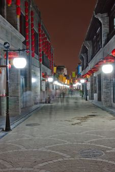 Night View Of The Alley, Beijing,China Stock Image