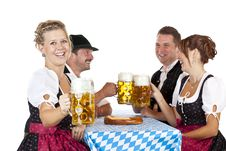 Free Bavarian Men And Women Toast With Oktoberfest Beer Stock Photo - 19483890