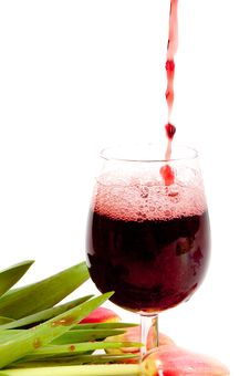 Red Wine Pouring Into Wine Glass Royalty Free Stock Photos