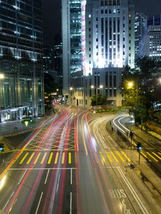 Traffic In Modern City At Night Stock Photo