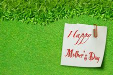 Free Happy Mothers Day On Green Grass Royalty Free Stock Photo - 19484815