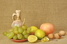 Fruit Different And Ceramic Ware Stock Image
