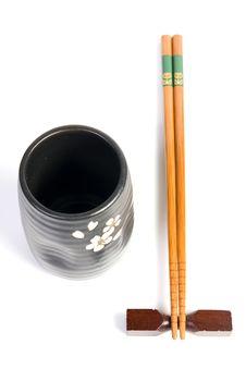 Free Chopsticks And Tea Bowl - Japanese Kitchen Utensil Stock Image - 19485811