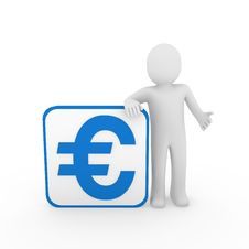 Free 3d Man Euro Blue Cube Stock Photo - 19486000