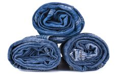 Free Stack Of Blue Denim Jeans Stock Images - 19486474
