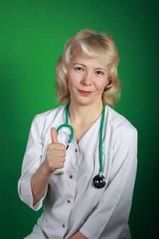 The Woman  Doctor With A Stethoscope Stock Images