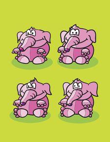Free Pink Elephants Set Royalty Free Stock Image - 19488226