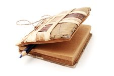 Free Old Handmade Notebook With Blue Pencil Royalty Free Stock Photo - 19489075