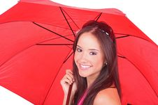 Free Woman With A Red Umbrella Royalty Free Stock Images - 19489279