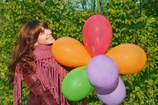 Free Girl With Colorful Balloons Stock Photography - 19489552