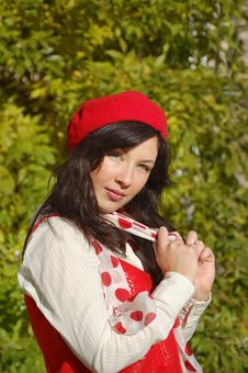 Free Nice Girl In Red Beret Royalty Free Stock Photo - 19489625
