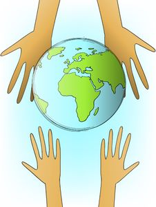Earth And Hands Stock Photography