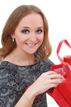 Portrait Of Young Woman With Shopping Bags Royalty Free Stock Image