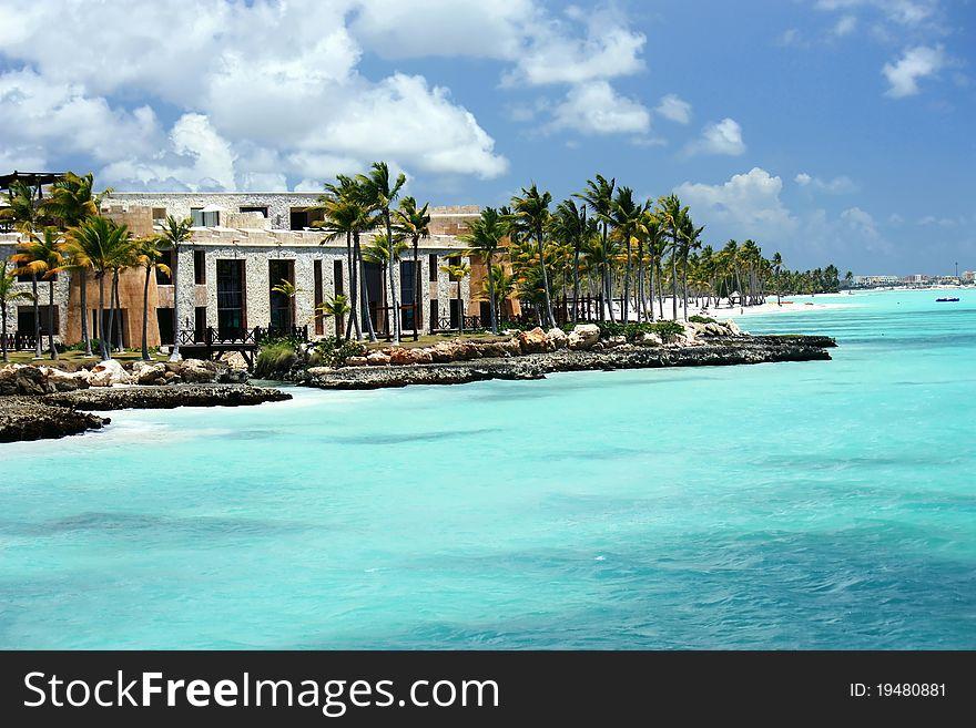 Tropical sunny ocean coastline