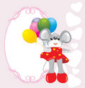 Free Mouse Toy With Colorful Balloons. Greeting Card Stock Photo - 19498050