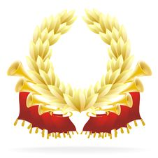Free Golden Flourish With A Laureate Wreath Royalty Free Stock Photo - 19490035