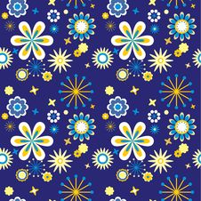 Free Blue Seamless Floral Pattern Royalty Free Stock Photo - 19490195