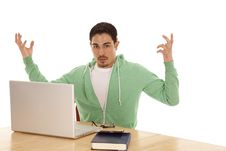 Man Green Study Hands Up Royalty Free Stock Photo