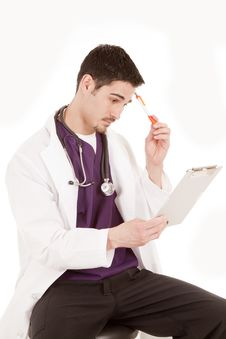 Free Male Doctor Thinking Stock Images - 19491124