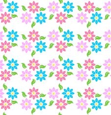 Free Coloured Flowers Pattern Royalty Free Stock Images - 19491689