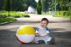 Free Little Boy With A Ball In The Park Royalty Free Stock Photography - 19492007
