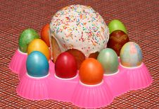 Easter Cake And Eggs Royalty Free Stock Photos