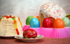 Easter Cake And Eggs 2 Royalty Free Stock Photo