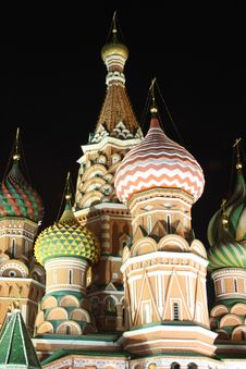 Saint Basil S Cathedral In The Dark Night Stock Photography