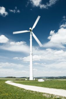 Free Path To The Wind Turbine Royalty Free Stock Image - 19492426