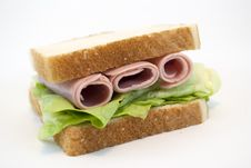 Ham And Lettuce Sandwich Royalty Free Stock Photography