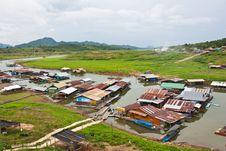 Landscape Of Houseboats Stock Photo