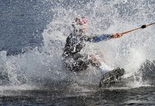 Free Water Skier Landing In The Water After A Jump Royalty Free Stock Images - 19493979